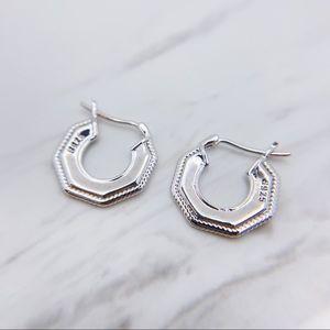 S925 Geometric silver coin earrings
